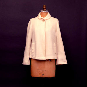 1960s Loose Fitting Open Linen Cropped Boxy White